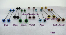 14 PAIR 2mm to  8mm German Glass Eyes on Wire Mix Colors Teddy bear, decoy  201