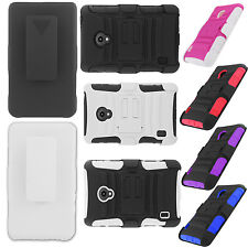 For Verizon LG Lucid 2 VS870 Combo Holster HYBRID KICKSTAND Rubber Case Cover