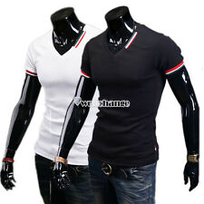 W3LE Fashion Men V-neck Short Sleeve Slim Casual Sexy T-Shirt Tops Blouse Tee