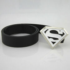DC Classic New White Superman Superhero Western Mens Metal Belt Buckle Leather