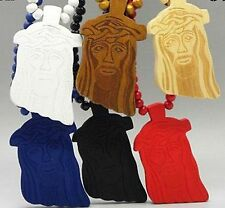 New Six Colors Wooden JESUS Piece Rosary Necklace CHRIST Pendant Chain Fashion