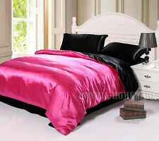 Double Bed Silky Soft Satin Fitted Flat Sheet Quilt Donna Cover Sham Set-8 Color