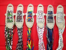 4 Pairs of 90 &110cms Funky Style Fashion Coloured Shoe Boot Trainer Laces Skull
