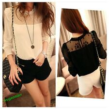 2013 New Style Lady' Long Sleeve Lace Chiffon Stand Collar Shirt Blouse 2 Colors