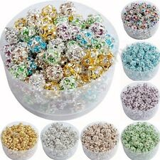 10 Pcs Austria Crystal Silver Plated Spacer Loose Beads Charms Jewelry 6 8 10 mm