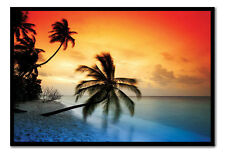 Maldives Palm Trees Sunset Framed Cork Memo Notice Board With Pins