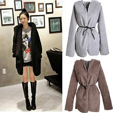 Women Long Hooded Coat Warm Autumn Winter Jacket Cardigan Plush Fleece Jacket