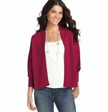 NWT ANN TAYLOR LOFT Lavish Red Dolman Long Sleeve Open Front Poncho Sweater $49