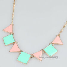 Colorful Enamel Triangle Geometric Golden Tone Bib Choker Chandelier Necklace