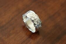 Hawaiian 925 Sterling Silver Plumeria Heritage Scroll Ring Band Sizes 4-12 #R16