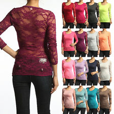 MOGAN SEXY Full LACE Back Long Sleeve TEE SHIRTS Stretch Blouse Top