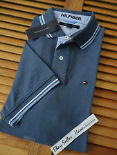 *** AUTHENTIC *** NEW TOMMY HILFIGER BLUE CASUAL DAILY INTERLOCK POLO SHIRT M L