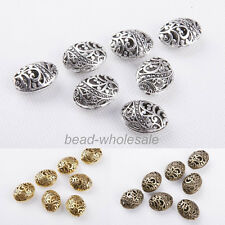 10Pcs Antique Tibetan silver Ellipse Shaped Hollow Spacer Bead Jewelry Findings