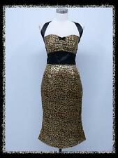 dress190 LEOPARD & BLACK HALTER PENCIL WIGGLE 50s ROCKABILLY PARTY VINTAGE DRESS