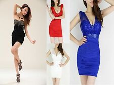 Sexy Low-cut Gauze Perspective Dew Backpack Hip Sequined Chest pad Mini Dress