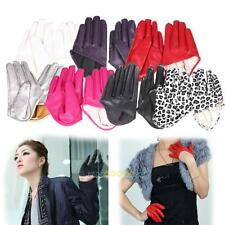 Hot Woman Tight Half Palm Gloves Imitation Leather Five Finger Vivid Color LS4G