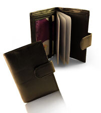 Mens Soft Leather Credit Card Holder Wallet With Plastic Inserts For 12 Cards
