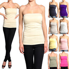 MOGAN Plain Stretchy TUBE TOP Cotton Strapless Layering Camisole TANK TEE