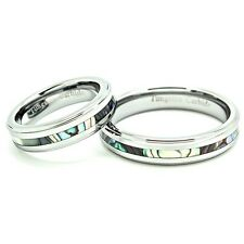 5mm Abalone Shell Inlay Tungsten Carbide Matching Wedding Band Sets (Sizes 5-13)