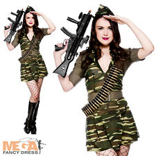 Private Tease Ladies Fancy Dress Army Uniform Military Womens Costume Oufit New