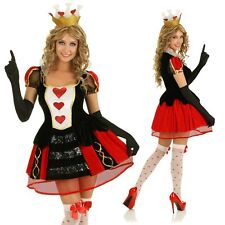 Womens Queen of Hearts Costume Alice In Wonderland Dress Party Outfit