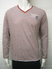 Mens Mexx Long Sleeve T Shirt Top Grey - Brick Red Stripes Size M to XL