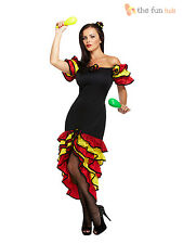 Ladies Spanish Flamenco Fancy Dress Rumba Salsa Mexican National Dancer Costume