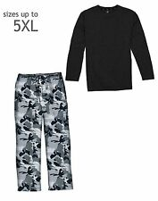 Hanes Men's Jersey Microfleece Sleep Pajama Shirt & Pant Set - style 3008