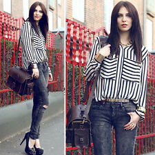 Fashion Women Long Sleeve Vertical Striped Chiffon Tops Button Down Shirt Blouse