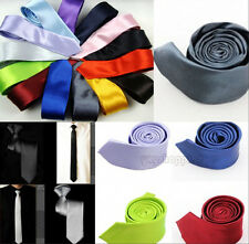 Mens Neck Slim Narrow Arrow Solid Skinny Neckwear Party Silk Stain Tie Necktie