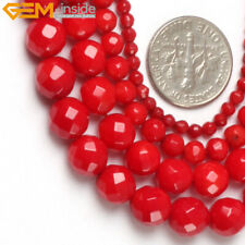 """Natural Faceted Coral Gem Beads For Jewelry Making 15"""" Dyed Jewelry Making Beads"""