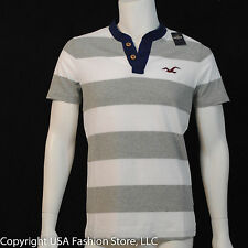 Hollister by Abercrombie Men's Short Henley Emerald Bay Gray Striped NWT