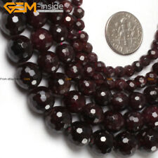 "Genuine Garnet Gemstone Beads DIY Natural Stone Strand 15"" Round Faceted"