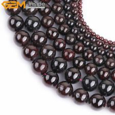 "Fashion natural smooth round garnet gemstone beads strand 15"",Jewelry Making"