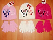 NEW GIRLS MINNIE MOUSE HAT AND GLOVES SET DISNEY PINK CREAM AGES 2-4 4-8 YEARS