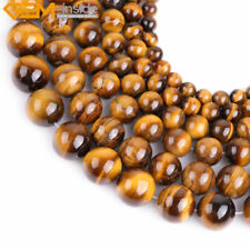 "Fashion round smooth yellow tiger eye gemstone beads strand 15"" ,Jewelry Making"