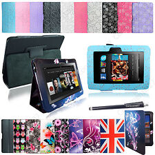 "For Amazon Kindle Fire HD 7"" Inch Premium Printed Leather Flip Case Cover+Stylus"