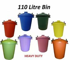 Coloured Bins 110L Litre Heavy Duty Storage Garden Houses Animal Feed Made In UK