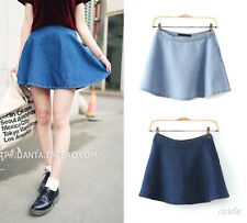 Vintage Classic High Waist Pleated Flared Circle Skater Women Denim Jeans Skirts