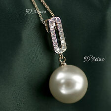 18K GOLD GF SWAROVSKI CRYSTAL NECKLACE WHITE PEARL PENDANT