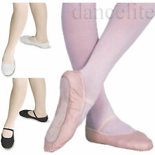 LEATHER BALLET SHOES *PRE SEWN ELASTIC*PINK,BLACK,WHITE-GIRLS,CHILDS,WOMENS,BOYS