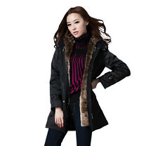 Women's Thicken Faux Fur Warm Winter Coat Hood Parka Overcoat Long Jacket