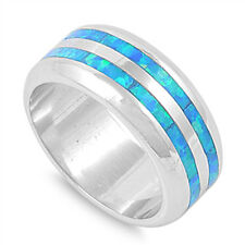Silver Ring w/ Lab Opal with Blue opal Band  Product Code: RO150375