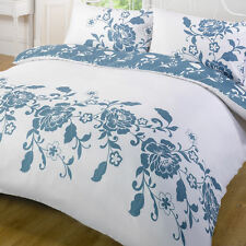 Duvet Cover Kensington Teal Blue White Floral Reversible Single Double King