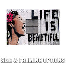 LIFE IS BEAUTIFUL HUGE GICLEE QUALITY CANVAS PRINT WALL POSTER STREET ART