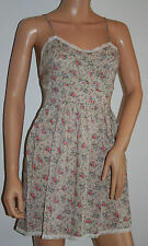 Glamorous - Women's Green Floral Lace Trimmed Dress Size 10 New