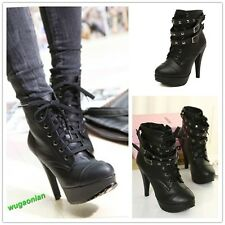 2014 Punk New Women Studded High Heels Platform Lace-up Ankle Boots Shoes