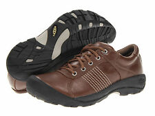 KEEN Mens Finlay Leather Walking Shoes [ Shitake Full Grain ]