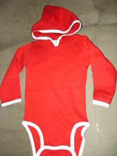 CHILDS BABY RED LONG SLEEVES CREEPER WITH HOOD  6 MONTH