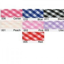 15mm Gingham  Bias Binding 2m or 20m 7 Colours